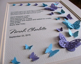 Love Song for our Baby Personalized 3D Butterfly Art. Newborn, Adoption. Turquoise & Purple or YOUR Choice of 2 Colours. 8x10. Made to Order