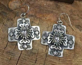 E244 Taos Sacred Heart overlayed on Santa Fe Cross sterling silver southwestern native style earrings
