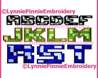 PIXEL BLOCK  Multicolor Embroidery Font  3 Sizes  Machine Embroidery Design