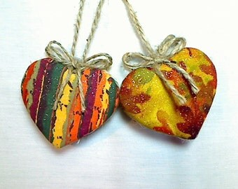 Fall Heart Ornaments | Fall Decor | Autumn | Party Favors | Holidays |  Rustic Country | Handmade | Tree Ornament | Decorations | Set/2,  #2