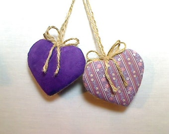Purple/Lavender Heart Ornaments | Home Decor | Valentine's Day | Holidays | Wedding Bridal Party Favors | Birthday | Handmade | Set/2 | #3