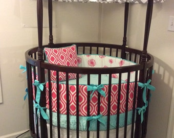 Round Crib Bedding Set in Gray Aqua and Pink