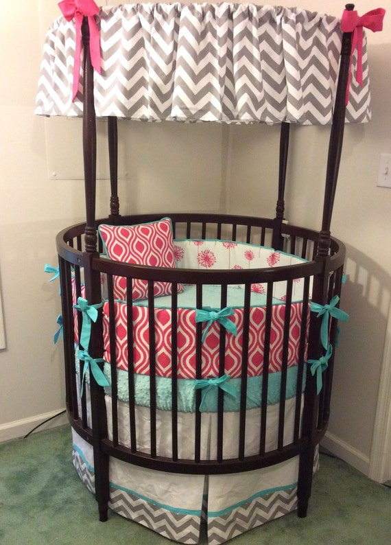 Round Crib Bedding Set in Gray Aqua and by butterbeansboutique