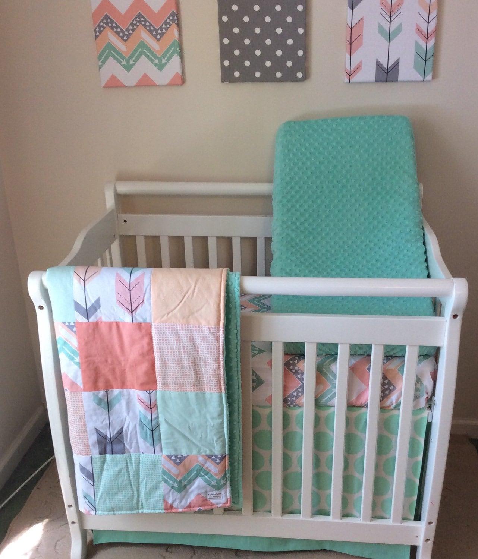mini crib bedding peach mint and grey arrows. Black Bedroom Furniture Sets. Home Design Ideas