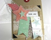 Little Star Handmade Gift Tag~Boy Baby Shower Gift~Shooting Star Tag~Gender neutral Birthday Card~Unique Card~One of a Kind gift tag