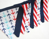 Nautical Decor Banner Bunting with MINI Flags -- Boy's Nautical Decoration in Navy, White, Red, Aqua Blue with Anchors -- cloth fabric flags