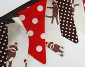 Boy's Sock Monkey Party Decoration, MINI Birthday Banner Bunting Flags, Photography Prop, in red & brown cloth fabric