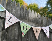 LOVE Banner Bunting, Wedding Photo Prop Flags, Outdoor Decoration, in Green, Blue, Pink, Rose, Photobooth, Bridal Shower -- Reusable Cloth