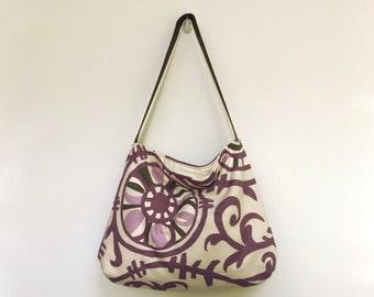 Ivory and Purple Purse, Purple Shoulder Bag, Eggplant, Brown, Handbag, Womens Purse, Gift Under 25