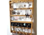 Honey Ring Holder, Earring Organizer, 16 Peg Bracelet Necklace Display, Honey Oak Wood Rack, Jewelry Holder Wall Hanging