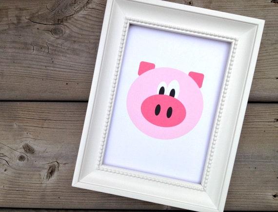 Pig Print, Childrens Art Print, Kids Wall Art, Cute Nursery Decor, Home Decor, Animal Poster, Farm Animal