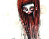 "ACEO/ATC ""Red Lady"" - Red Headed Super hero girl art print - watercolor painting - Artists Trading Card Mini Premium Fine Art Print 2.5x3.5"