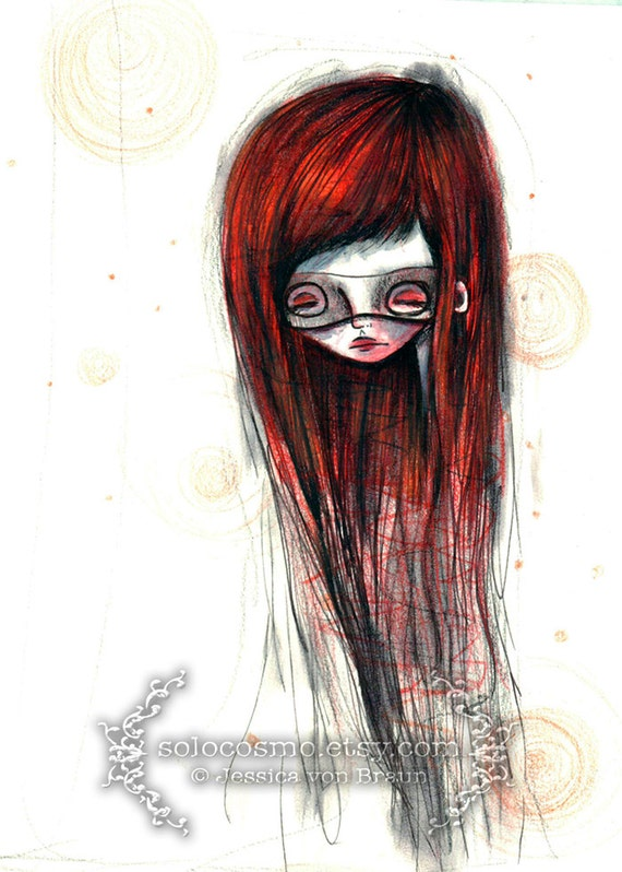 """ACEO/ATC """"Red Lady"""" - Red Headed Super hero girl art print - watercolor painting - Artists Trading Card Mini Premium Fine Art Print 2.5x3.5"""