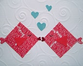 Pucker Up Valentines Day card, I love you, anniversary, cut paper, red and white, kissing fish, simple, blue hearts