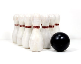Wooden Toy Bowling Game - Vintage Look with Eco-Friendly Milk Paint - IN STOCK