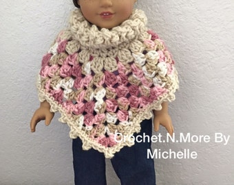 Crochet American Girl doll Multi-Pink and Beige Granny Poncho
