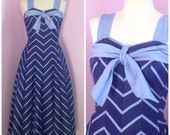 1950s Cole of California Dress/ Striped Nautical/ Sundress S M