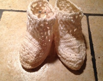 Off White Hand Crocheted Antique Baby Booties