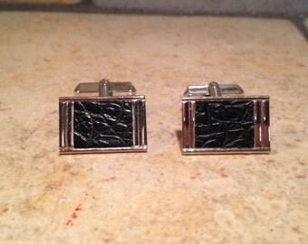 Black Leatherette Trimmed Silvertone Cuff Links