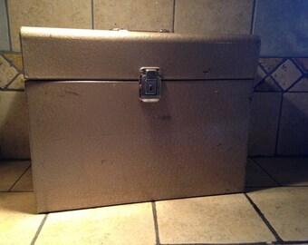 Locking Tin File Storage Box