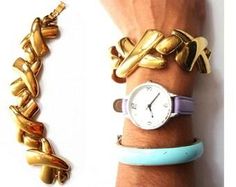 chunky gold bracelet x link 80s