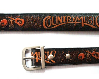 Country music leather belt 37 to 41 inches
