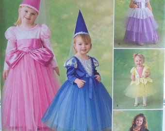 Girl's Princess Costume Sewing Pattern Simplicity 2569, Tiered Tulle Skirt Fairy Princess Hat with Scarf, Witch Dress Up Wardrobe Size 4 - 8