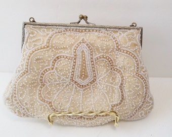 Vintage Beaded Evening Bag, Victorian Style Purse Art Deco Pattern Special Occasion Accessory Bridal Bag, Costuming, Movie Prop, Flapper Bag