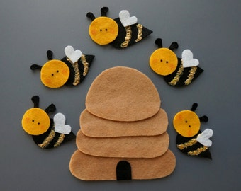 Five Little Bees Felt Set