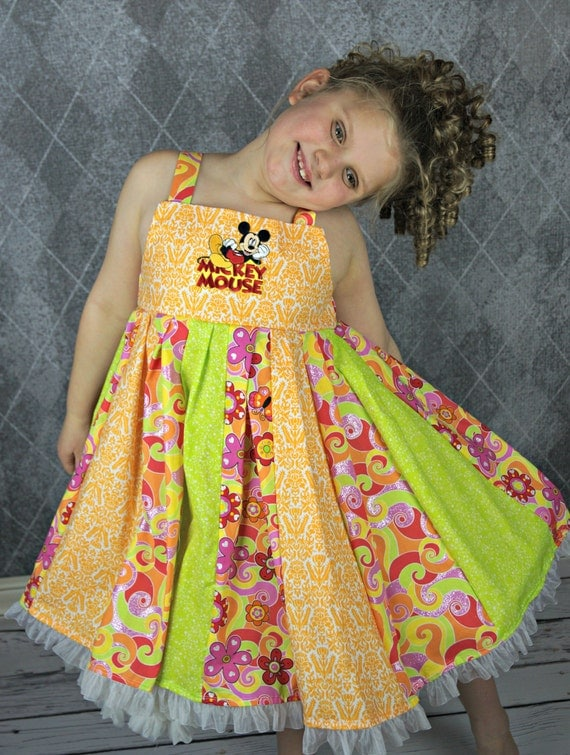 custom boutique dress made with mickey mouse patch  size 7/8 ready to ship sale