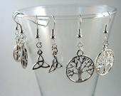 Pagan Earring Gift Set - Tree of Life Earrings, Pentagram Earrings, Triqueta Earrings