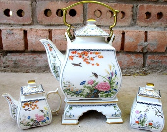 Vintage 1986 Franklin Mint Design Birds & Flowers of Orient White Ceramic Floral Teapot Creamer Sugar Spring Tea Party Set