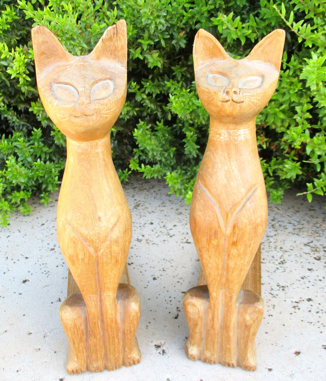 Tall hand carved wooden siamese cats bookends vintage wood