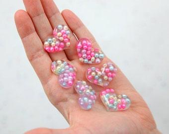 Heart Cabochons - 28mm Pearl Pastel Bubble Heart Resin Flatback Cabochons - 6 pc set