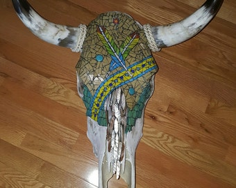 Mosaic Bull Skull - Feather