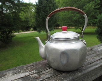 Vintage Aluminum Seep and Serve TeaPot...Made in Japan Tea Pot...Retro Kitchenware...Cottage Chic...Mid Century..Rustic Cabin Collectible