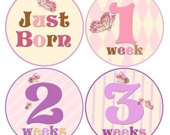 Baby Girl Bodysuit Stickers Baby Newborn Stickers Boy Age Stickers First Weeks Baby stickers Waterproof  Great Newborn Photo Prop