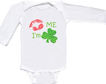 Funny St. Patty's Day Romper Long Sleeve by Mumsy Goose Newborn to Toddlers