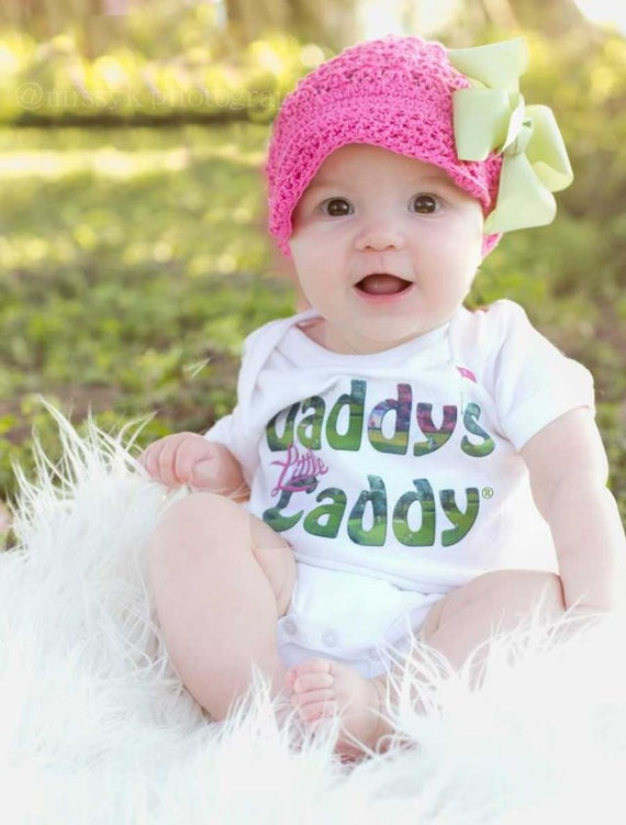 Funny Girl Bodysuit Piece Daddys Caddy Golf Romper with hat and bow by Mumsy Goose Newborn Golf Bodysuits to Girly Tee's