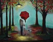 "Couple Art Print Couple Painting Couple Wall Art Home Decor Red Umbrella in Love Romantic Art Rain ""PERFECT KISS"" Leslie Allen Fine Art"