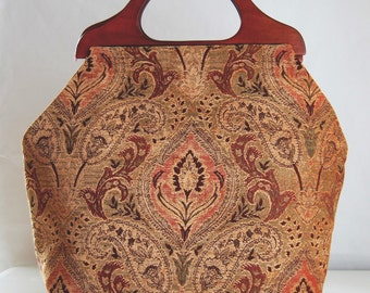 Paisley Chenille Damask Large Craft Project Tote/ Knitting Tote Bag - READY TO SHIP