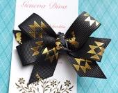 Golden Aztec on Black MINI Diva Bow