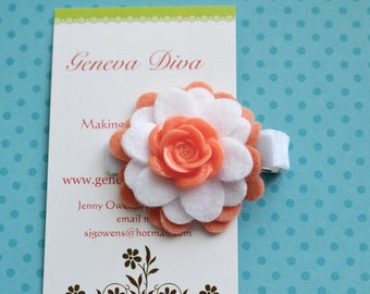Coral and White Felt Flower Clip with Mum Button Center