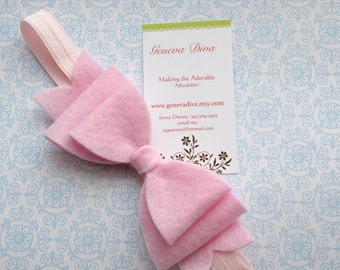 NEW-Pale Pink Felt Bow Stretch Headband