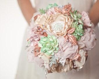 Brooch Bouquet Succulent Bouquet Alternative, Blush Mint Wedding fabric brooch bouquet,  artificial bouquet, Rose Gold Sola Flower bouquet