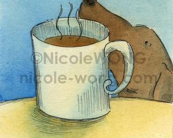 ACEO archival Print -- Coffee Smells Good