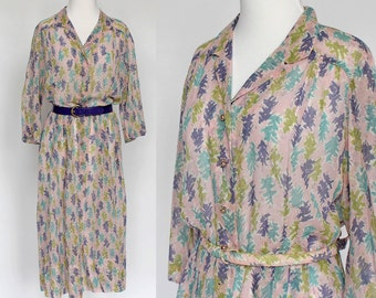 50's Shirtwaist Dress / Button Front / Purple & Pink Pattern / Sheer / Nelly Don / XLarge