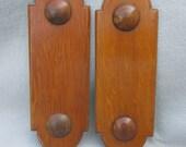 Pair Antique c1880s Victorian Architectural Wood Push Plates