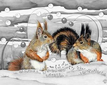 "Squirrel Conversation - Art Print of my Original watercolour illustration - Size: A3 / 11.69"" × 16.54"""