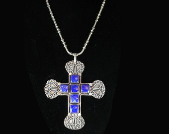 BIG Medieval etruscan necklace Lapis cross religious jewelry heavy silver chain 5th 9th 24th 45th anniversary December Sagittarius Capricorn